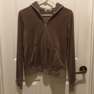 JUICY COUTURE LT BROWN ZIPPERED JACKET WITH HOOD